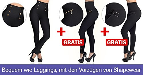 Mediashop Hollywood Pants | 3 Bodyformer Hosen in Größe: L | schwarz | 3 Designs | Shapewear Leggins | hoher Bund für flachen Bauch, optisch längere Beine und knackigen Po | Das Original aus dem TV - 3