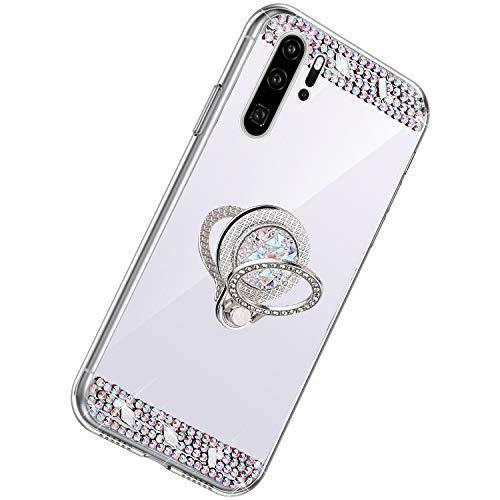 Herbests Kompatibel mit Huawei P30 Pro Hülle Glitzer Kristall Strass Diamant Silikon Handyhülle mit Ring Halter Ständer Schutzhülle Überzug Spiegel Clear View Handytasche,Silber