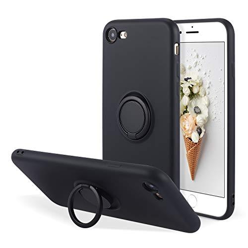UEEBAI - Cover in silicone con anello per iPhone SE 2020, iPhone 7, iPhone 8, sottile e leggera, assorbimento degli urti, con anello a 360 gradi, rotazione di supporto