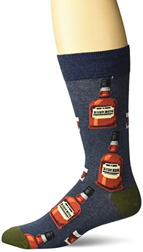 Hot Sox Men's Food and Booze Novelty Casual Crew Socks, Bourbon (Denim Heather), Shoe Size: 6-12