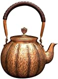 XUERUIGANG Juego de té de artesanía 1.3L, calibre pesado 1 mm de grosero martillado tetera tetera tetera tetera, grabado cobre tetera hervidor de tetera tetera tetera para anti óxido ideal vajilla par