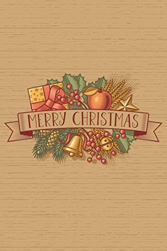 Notizbuch Merry Christmas, gepunktet, 120 Seiten: DIN A5 | Glocken, Äpfel, Schleife | in Gold, Rot, Grün | ideal als Weihnachtsgeschenk z.B. für ... Geschenke, Wunschlisten, Geschenke-Planer