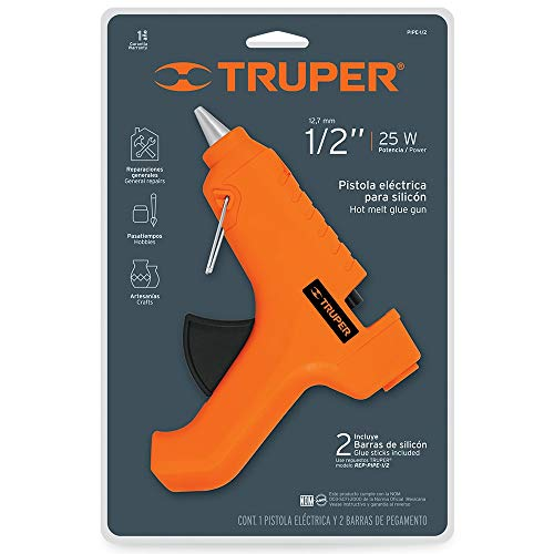 Truper PIPE-1/2 Pistola eléctrica para silicon, 25W, 1/2'