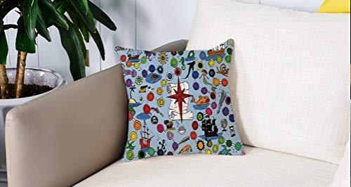 Mingdao Home Decor Sofa Werfen Kissenbezüge,Brettspiel, Piratenspiel Start und Ziel Bunte Flecken Meerestiere Nautische Symbole Dekorativ, Mehrfarbig,Kissen Cover Square Pillowcase