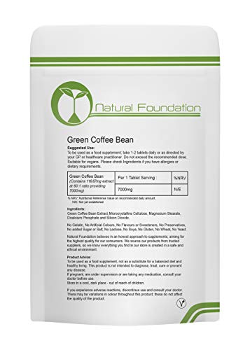 Green Coffee Bean Extract 7,000mg High Strength Tablets Healthy, Slimming, Ageing, Weight Loss & Control, Antioxidant, Energy & Body Tissue | Natural Foundation Supplements (250)