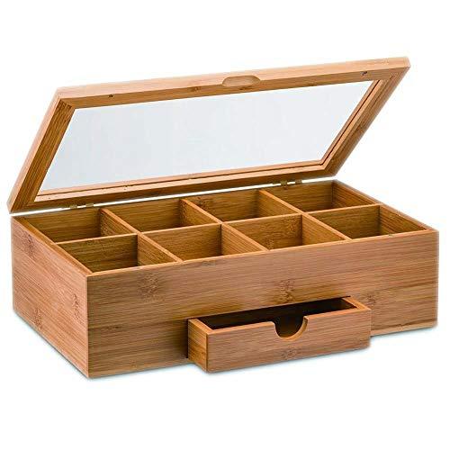 Generic Boîte de Rangement Organisateur en Bois Massif à thé café Stor Portable cellules Portable Bambou Thé Amboo Mini tiroir Abena Bambo Café Boîte de Rangement