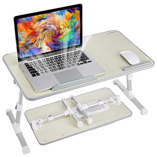 8AMTECH Lap Desk for Bed, Portable Laptop Table with Cooling Fan Foldable Laptop Stand Desk Lap Tray for Working, Reading, Gaming, Writing, Eating in Bed Sofa Couch Floor