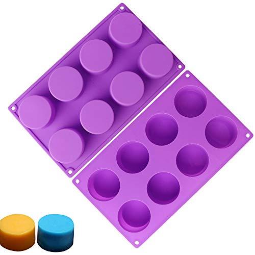 RETON 8 cavità di Forma Rotonda Stampo in Silicone Strumenti di Cottura Fai da Te per Mini Sapone, Cupcake, Biscotti, Muffin, Brownie e Altro, Confezione da 2
