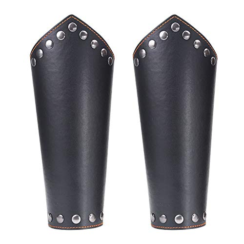 Genuine Leather Dragonscale Medieval Armor Costume Knights Leather Battle Arm Guard Bracers Brown-E