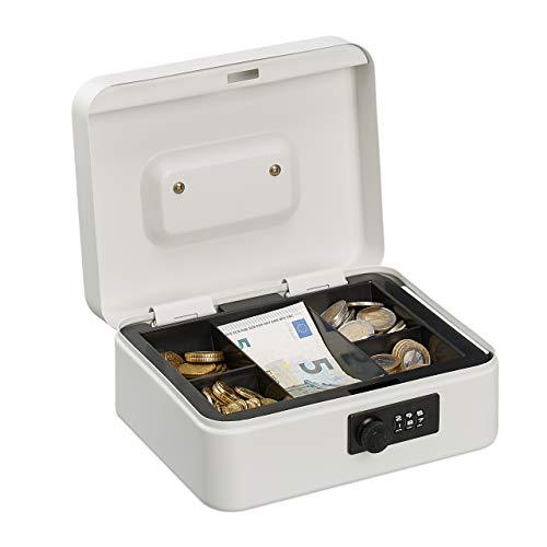 Relaxdays HMF - Caja de caudales (3 dígitos, combinación para Monedas, Hierro, 8,5 x 20 x 17 cm), Color Blanco
