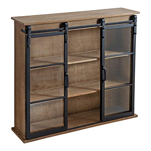 """Kate and Laurel Barnhardt Decorative Wooden Wall Cabinet with Two Sliding Glass Doors, 30"""" x 28"""", Rustic Brown, Barndoor Modern Farmhouse Storage"""