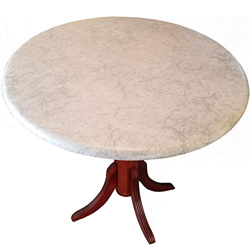 Table Cloth Round 36' to 48' Elastic Edge Fitted Vinyl Table Cover Classic White Marble