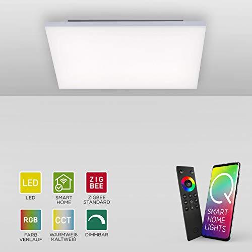 Q-Frameless, frameloos LED-paneel | Smart-Home plafondlamp met RGB-kleurverandering | dimbare plafondlamp, compatibel met Alexa | warmwit - koudwit temperatuurregeling