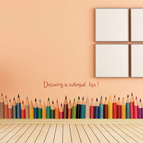 Tekening Een kleurrijk leven muursticker voor kinderkamer kleurrijke potlood muurtattoos kunst kleuterschool kinderen kunst room decor poster 50x70 cm