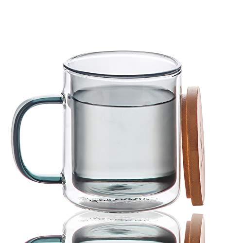 Tazas de Vidrio Doble Pared de Color con Mango y Tapa (350ml), Candiicap Tazas de Café para Bebidas Frías y Calientes, Vasos Termicos para Desayuno, Té, Leche, Latte, Capuchino
