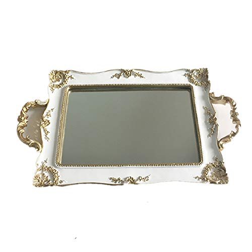 XMSIA Decorative Tray Perfume Tray Handmade Vanity Tray Jewellery Tray Catchall Tray Trinket Tray for Dresser Vanity Table Mirror Tray for Dresser Bathroom (Color : White, Size : One size)