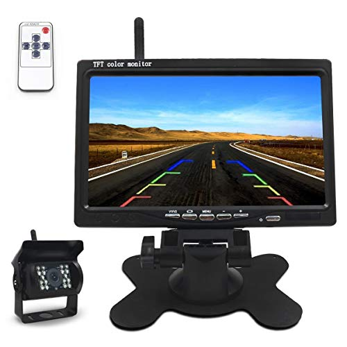 Wireless Car Reversing Camera 7 Inches TFT LCD Mirror Monitor 18 LEDs 7 Inches (6')