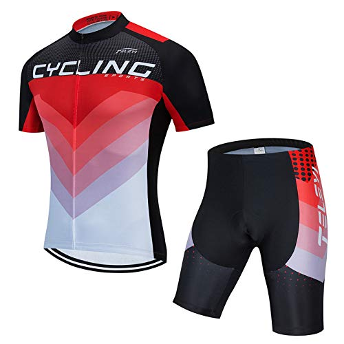 QWA Maillots de Ciclismo para Hombre, Camiseta de Ciclismo de Montaña, Camiseta de Ciclismo Secado Rápido Conjunto Mountain Bike Road Sportswear (Color : Red 2, Size : C(M))