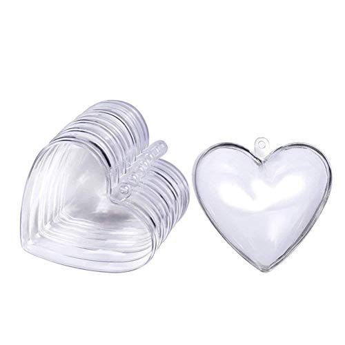 5pcs Heart Shape Plastic Transparent Fillable Ball Christmas Bauble Ornaments Candy Box Christmas Tree Decoration Wedding Party Home Decor DIY Gift 80mm Comfortable and Environmentally