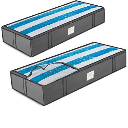 ZOBER 2er Set Unterbettkommode Atmungsaktiv mit Reißverschluss - Platzsparend Unterbett Aufbewahrungstasche aus Stark 600D Stoff, Bettwäsche und Kleidung lagern | 107 x 46 x 15 cm (Grau)