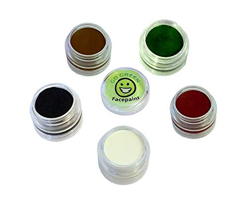 Go Green Face Paint - 5 Color Certified Organic Kit for Kids - The Safest Set for All Skin Types - Resealable and Reusable - Great Gift for Halloween - 36 Month Shelf Life