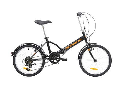 F.lli Schiano Pure Bicicleta Plegable, Unisex-Adult, Negro-Naranja, 20''