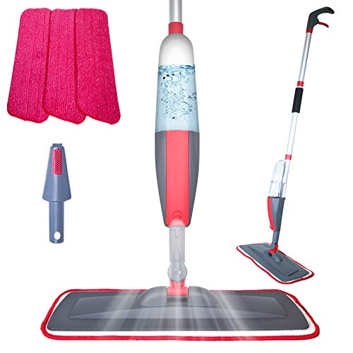 Spray Mop - Floor Mops for Hard Floors, Microfiber Mop with 3 Reusable Pads and 400Ml Refillable Bottle, Cleaning Kitchen Mop 360 Degree Spin Dry Wet Mop Suitable for Hardwood, Laminate, Marble Tile