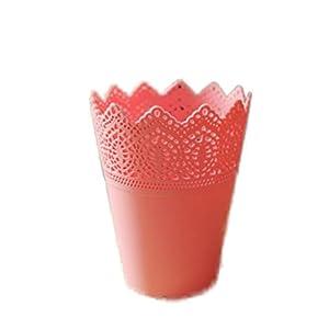 cosanter redondo plástico florero macetas se puede utiliza para escritorio–Cesta portalápices Maquillaje Brocha plana Maceta Decoración 14*10*7cm Rose