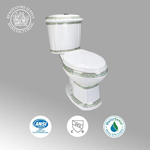 Renovators Supply India Reserve Elongated Two Piece Bathroom Toilet - Modern Upscale Dual Flush Push Button 0.8 GPF/1.6 GPF WaterSense ADA CUPC - Heavy Duty Porcelain Includes Toilet Seat White
