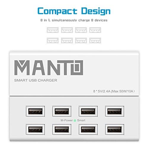 Manto 8-Port USB Ladegerät 50W 10A Multi Port USB Netzteil Desktop Ladestation mit 1,2M Netzkabel für iPhone, iPad, Headphones, Tablet, Samsung Galaxy, Android Smart Phone USB Netzteil Gerät