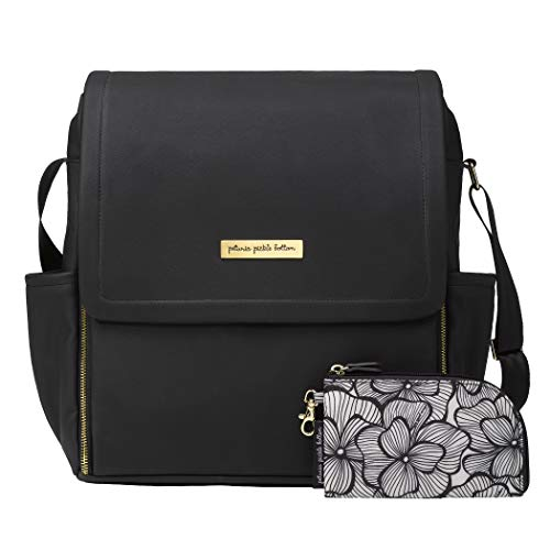 Petunia Pickle Bottom Boxy Backpack | Diaper Bag | Diaper Bag Backpack for Parents | Top-Selling Stylish Baby Bag | Sophisticated and Spacious Backpack for On The Go Moms | Black Leatherette