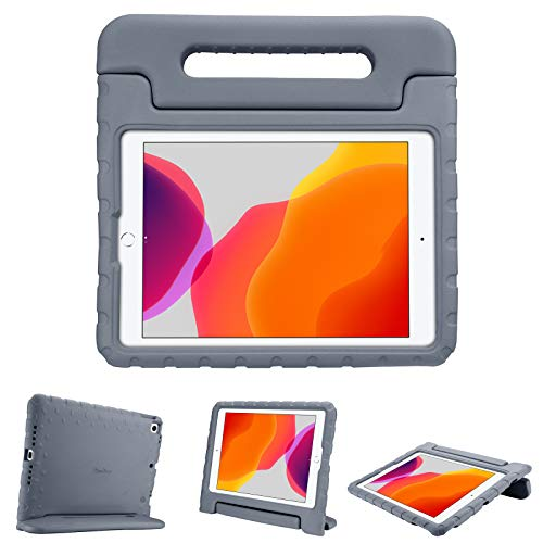 """ProCase Kids Case for iPad 10.2 9th Gen 2021 / 8th Gen 2020 / 7th Gen 2019 / iPad Air 10.5"""" 2019 / iPad Pro 10.5, Shockproof Convertible Handle Stand Cover Light Weight Kids Friendly Case -Grey"""
