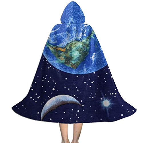 Hangdachang Planeta Tierra Espacio Estrella Capa con Capucha Polister Fiesta de Halloween Cosplay Disfraz Capa Nios S