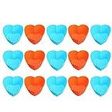 DOITOOL 15 moldes de silicona con forma de corazón para magdalenas, moldes reutilizables (color al azar)