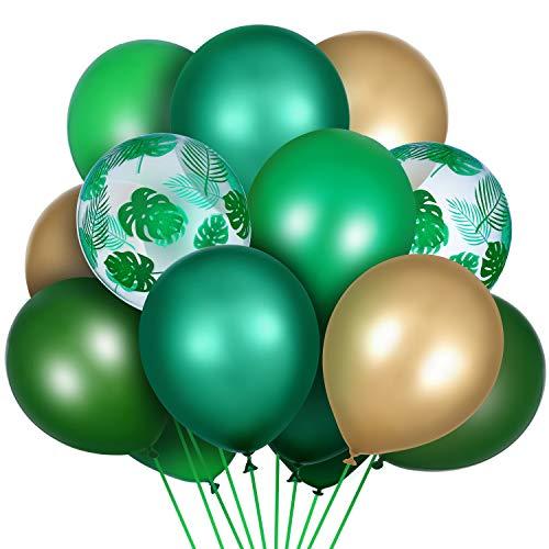 80 Stück Dschungel Safari Theme Luftballons Palmblätter Luftballons Metallic Chrom Luftballons Grüne Latex Luftballons für Geburtstag Dschungel Tropisch Party Bedarf