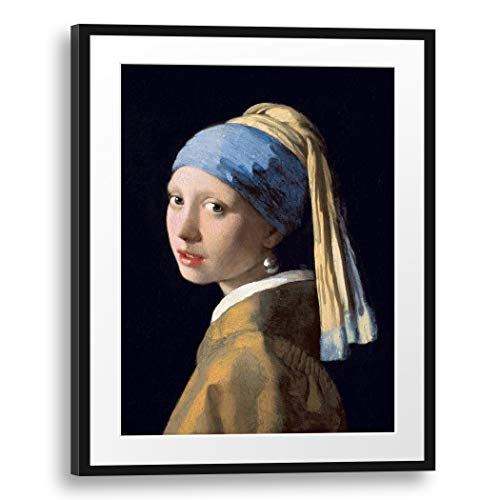 Printed Paintings Passepartout (60x80cm): Jan Vermeer - Muchacha con el Pendiente de la Perla (1665)
