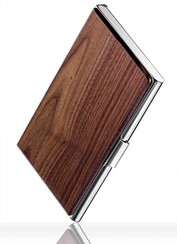 MaxGear Walnut Wood Business Card Holder for Women Men Pocket Business Card Case Slim Business Card Wallet Business Card Holders Name Card Holder 37 x 23 x 048 inches Walnut Stainless Steel