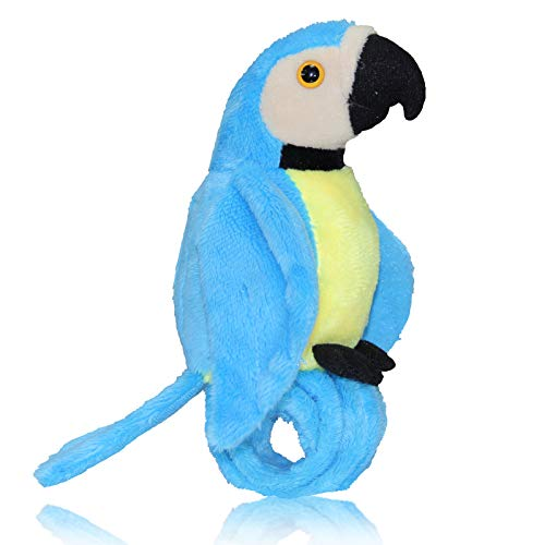 Talking Parrot Plush Toy Repeats What You Say, Slap Bracelet Stuffed Animals for Kids, Interactive Mimicry Electronic Pet (Blue)