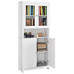 ◆ Multifunctional Storage Function: The transparent glass cabinet door stores books, which is beautiful and fashionable. The open storage area can be used to store decorations and gadgets. The closed storage cabinet on the lower level has good concea...