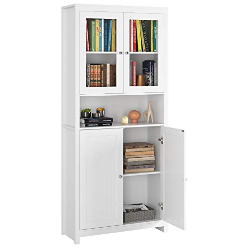 Homfa 74.8 Inch Bookcase Kitchen Buffet Cupboard Cabinet, Freestanding Pantry and Hutch with Framed Glass Doors and Open Shelf, Traditional Elegant Design for Living Room Kitchen Hallway, White