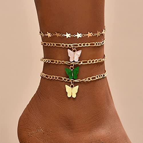 Ushiny Tobilleras Boho Star con diseño de mariposas, doradas, tobilleras con capas, para verano, playa, para mujeres y niñas (4 piezas)
