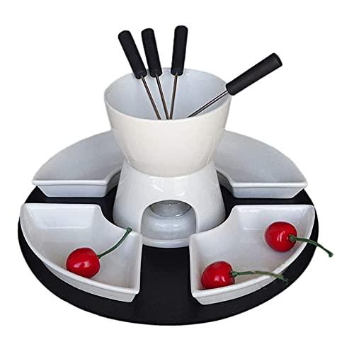 PANJAZE Keramische Butterwärmer Set, persönliche Fondue Tassen, multifunktionale Mini-Käse-Schokolade mit 4 Edelstahlgabeln, weißer Topf, Mikrowelle, Ofen Safe, 22x17x16cm