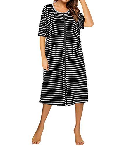 SUNNYME - Traje de noche de verano con cremallera frontal para el hogar, suave y corto, camisón con bolsillos Negro Negro ( L