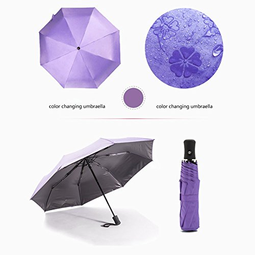 lzndeal cierre automático portátil impermeable anti-UV plegable de paraguas de lluvia para el viaje morado morado