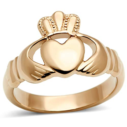 Womens Ip Rose Gold Irish Celtic Claddagh Stainless Steel Ring,Size:6