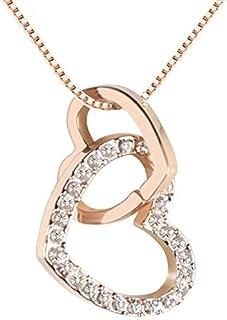 QUADIVA E! Collana da Donna Collana con Ciondolo a Cuore (Colore: Oro Rosa) Abbellito con Scintillanti Cristalli di Swarov...