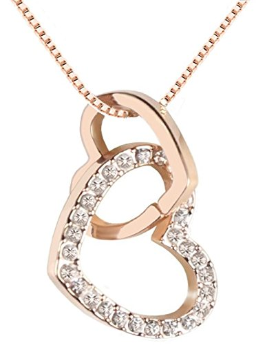Quadiva E! Damen Halskette - Herzkette - Kette mit Anhänger Herz (Farbe: Rosegold) verziert mit funkelnden Kristallen von Swarovski®