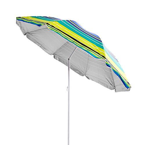 LOLAhome Sombrilla Playa Parasol Amarilla de Nylon de Ø 180 cm