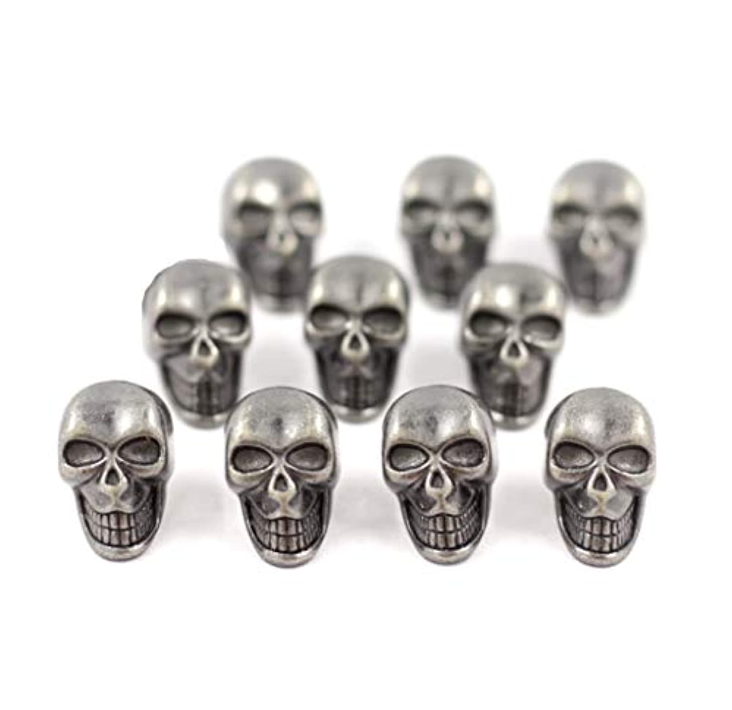Bezelry 10 Pieces Small Skull Gray Silver Buttons. 16mmX10mm. (Gray Silver)
