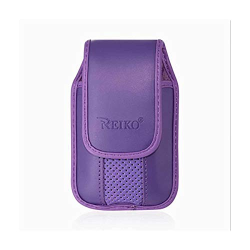 Purple Leather Case with Pinch Clip for ZTE z432 Phone